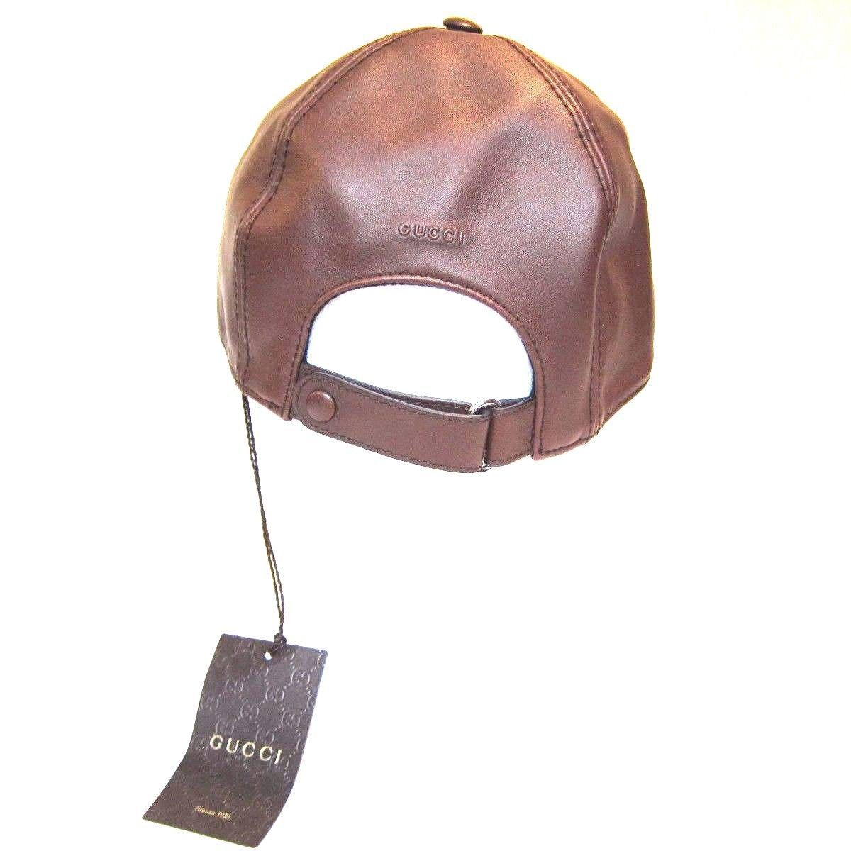 431c1d83120 B-161150 New Gucci Brown Leather Baseball Hat Cap Size Medium MD