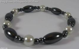 Stylish White Pearl and Magnetic Hematite Bracelet - $7.95
