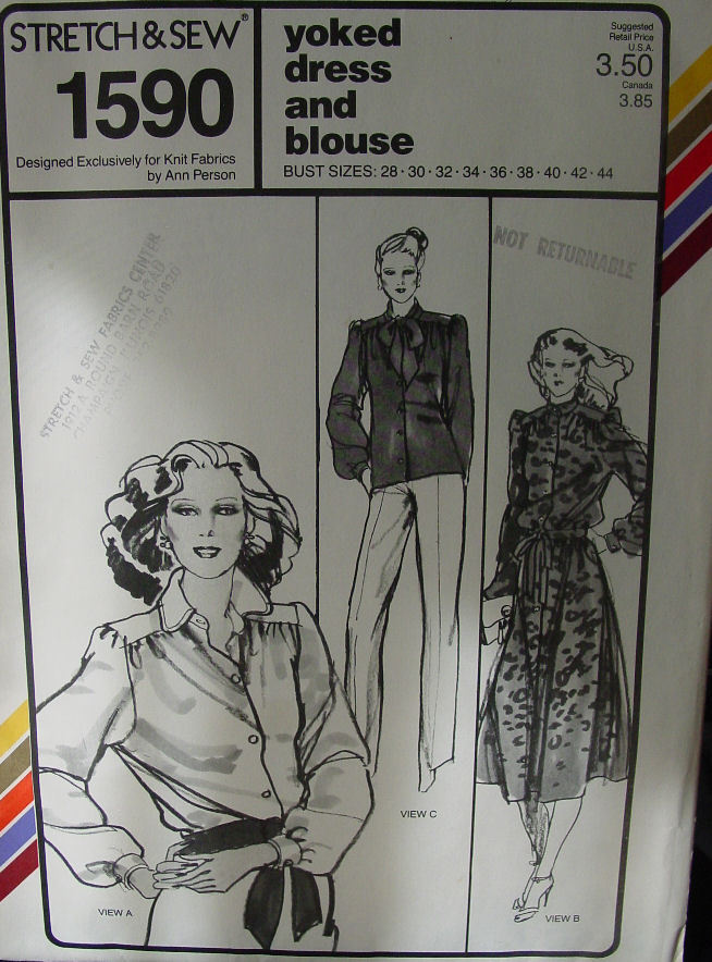 """Pattern:Stretch & Sew Yoked Dress or Blouse 28-44"""" Bust"""