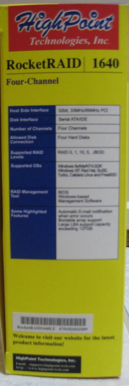 HighPoint Tech RocketRAID 1640 four-channel Serial ATA RAID
