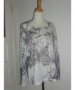 Seven 7 Black & White Shirt Top Long Sleeve Scoop Neck Women's Size XL -... - $20.00