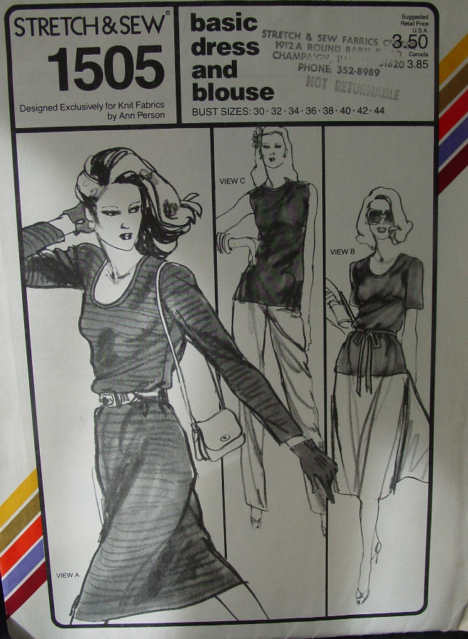 "Pattern:Stretch & Sew Basic Dress and Blouse 30-44"" Bust"