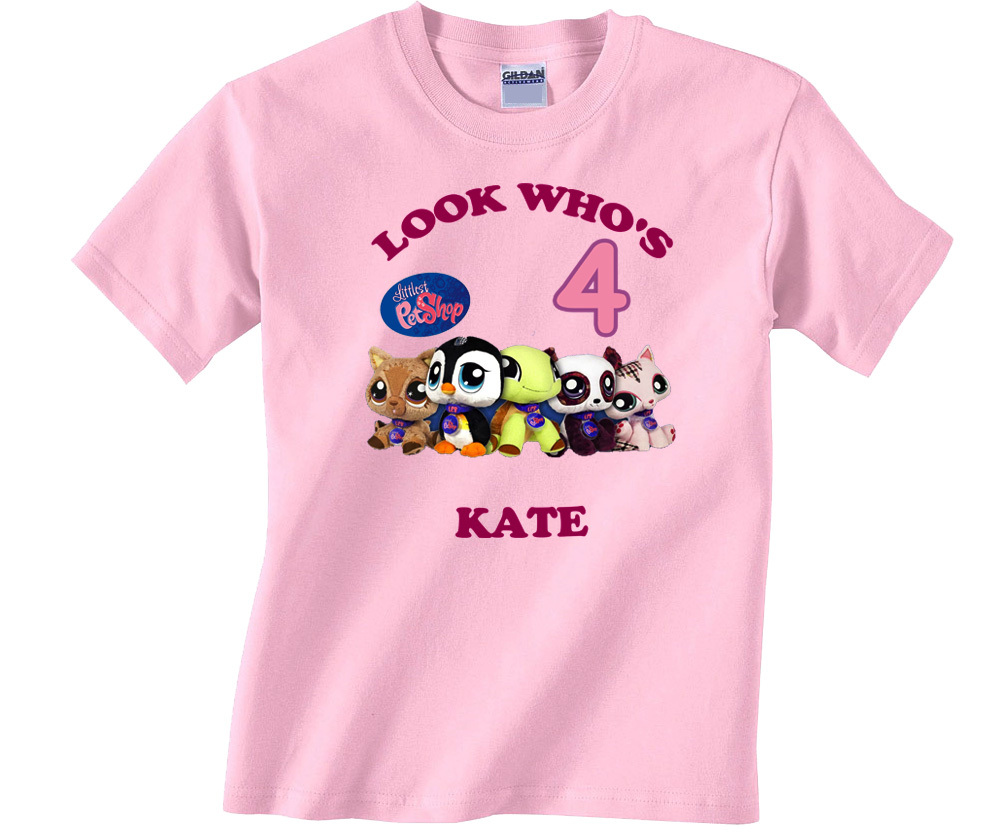 Personalized littlest pet shop birthday pink t shirt gift for Custom pet t shirts