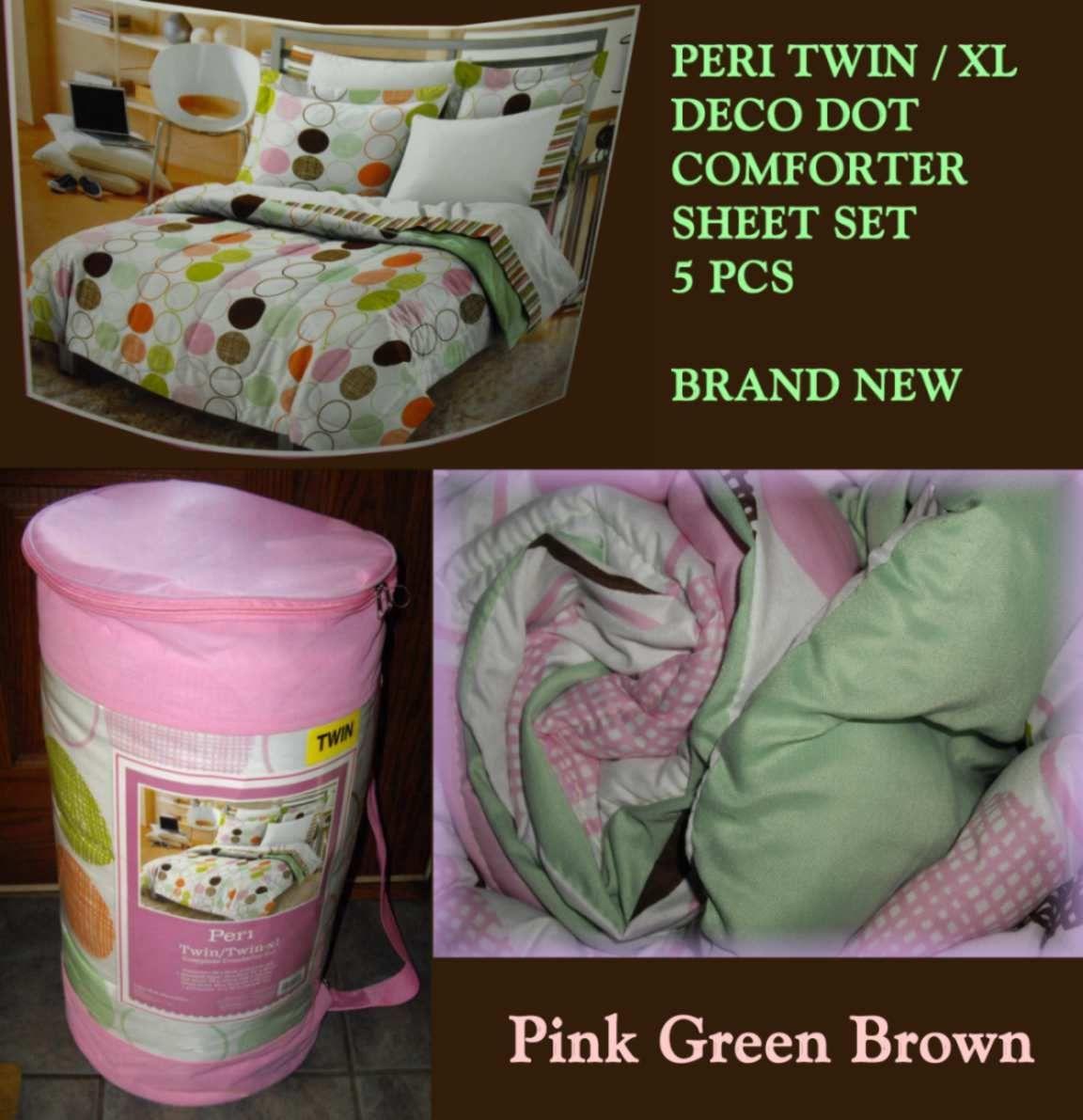 NEW PERI DECO DOT-TWIN XL Comforter Sham Sheets Bed Set-Pink Green Brown PolkaNE