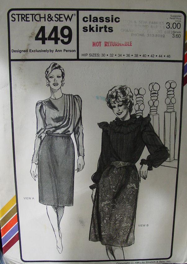 "Pattern:Stretch & Sew Classic Skirts 30-46"" Hip"