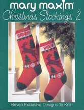 Mary Maxim Christmas Stockings 2 Knitting Pattern~11 Exclusive Designs - $34.99