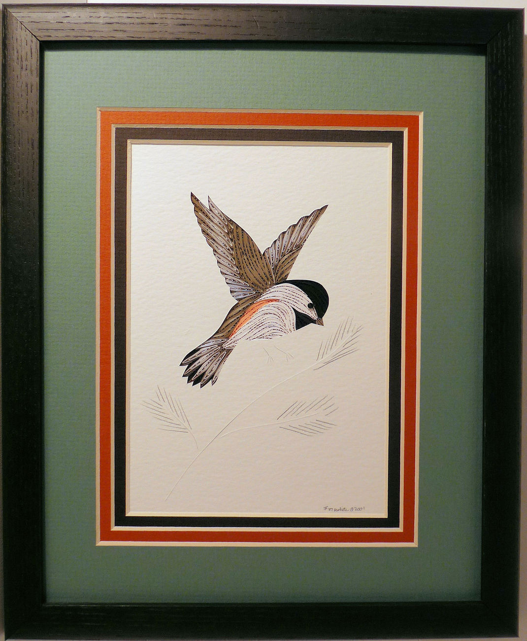 Quilled Chickadee in Flight handcrafted wall art framed NH