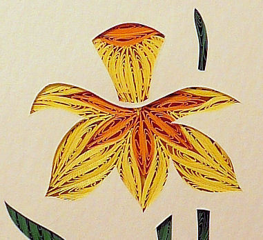 Quilled Daffodil handcrafted original wall art made in new hampshire
