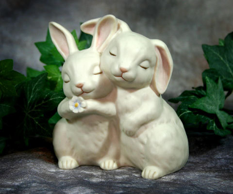 HOMCO Bunny Rabbits 1990 Signed Collectible Ceramic Figurine