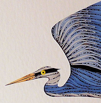 Quilled Blue Heron in Flight  wall art handcrafted in New Hampshire