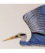 Quilled Blue Heron in Flight  wall art handcraf... - $175.00