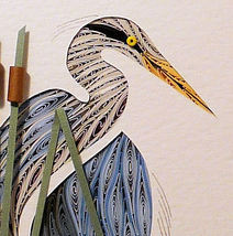 Quilled Blue Heron Turned - $175.00