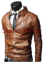 Handmade New Men Rib Style Slim Fit Leather Jacket, Men leather jacket, Leather  - $189.00