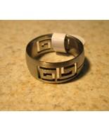 RING MEN WOMEN UNISEX GREEK KEY STAINLESS STEEL SIZE 8 #662  - $9.99