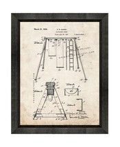 Playground Swing Patent Print Old Look with Beveled Wood Frame - $24.95+