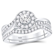 14kt White Gold Round Diamond Bridal Wedding Engagement Ring Band Set 1.00 Ctw - $1,598.00