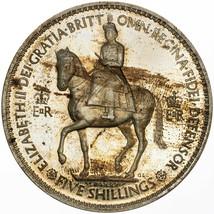 1953 UNITED KINGDOM 5 SHILLINGS CORONATION STRIKING COLOR TONED UNC BU (MR) - $197.99