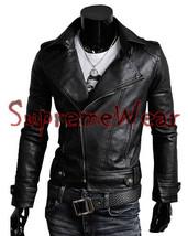 Handmade New Men Brando Style Slim Fit Black Leather Jacket, Leather jac... - $189.00