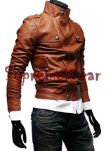 Handmade New Men Stylish Button Front Leather Jacket, Men leather jacket... - $139.00