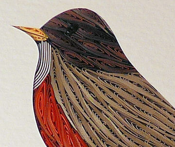 Quilled Robin handcrafted framed wall art