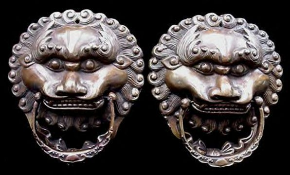 Old Brass Chinese King Lion Door Drawer Pulls
