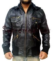 New Handmade Men Stylish Superb Hooded Black Leather Jacket, Leather jacket for  - $189.00