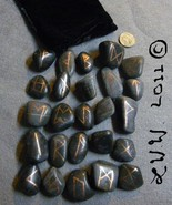 Black RIver Rock Stone Futhark Rune Set with Black Pouch Wicca Pagan Div... - $5.99