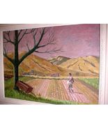 Carl Flick Amana Colony Iowa Farm Planting Landscape Oil Painting (Grant... - $800.00