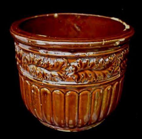 Antique 1923  Brown Art Pottery Jardiniere Planter Pot
