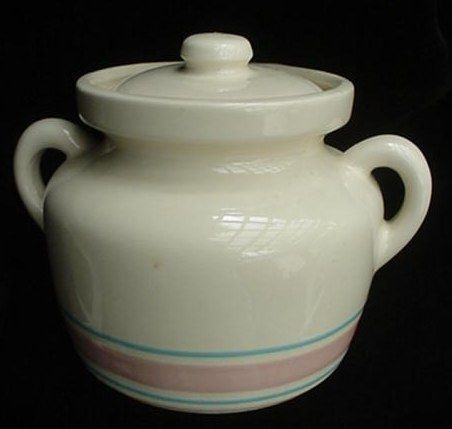McCoy Pottery Stonecraft Banded Bean Pot Canister Jar