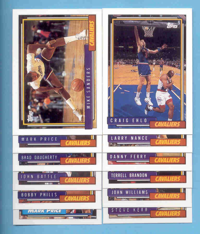 1992/93 Topps Cleveland Cavaliers Basketball Team Set