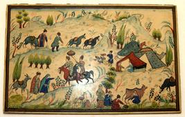 Antique Persian Handmade Miniature Painting Islamic Artwork Rural Scene image 3
