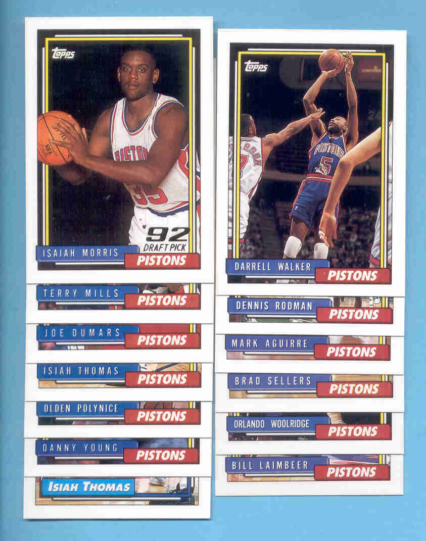 1992/93 Topps Detroit Pistons Basketball Team Set