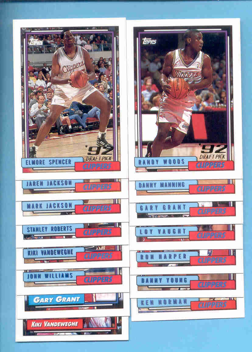 1992/93 Topps Los Angeles Clippers Basketball Team Set