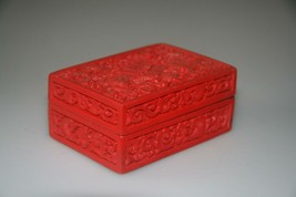 CHINESE CINNABAR CARVED SCENE RED Lacquer Box - $43.37