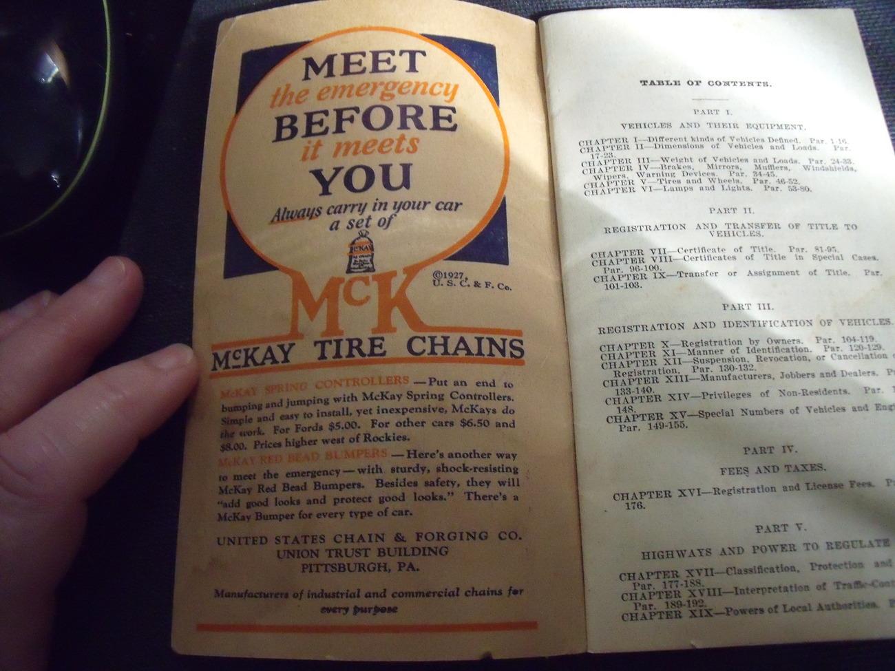 1927 Pennsylvania Motor Vehicle Code