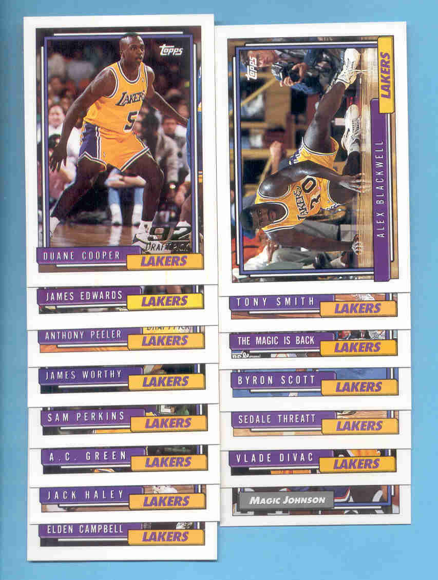 1992/93 Topps Los Angeles Lakers Basketball Team Set