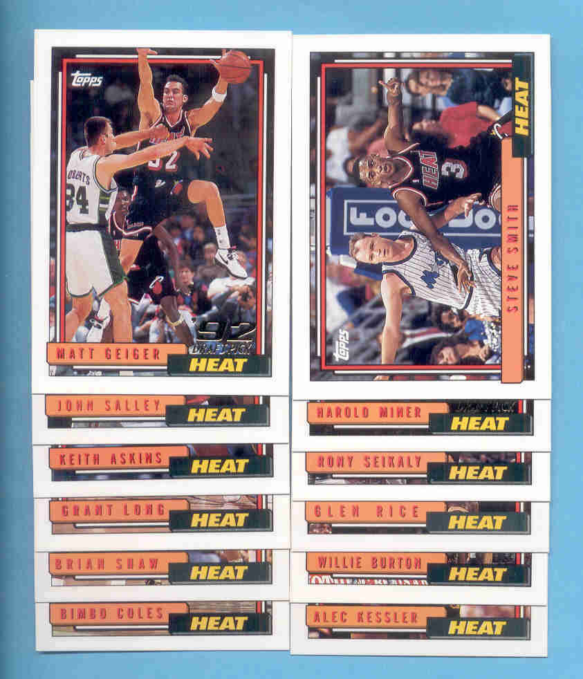 1992/93 Topps Miami Heat Basketball Team Set