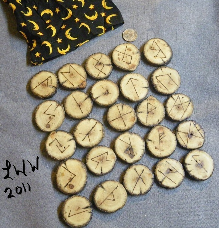 Handmade Drift Wood Futhark Rune Set with Pouch Wicca Divination Pagan