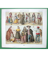 SPAIN Costume of Men Women Girls Segovia  - COLOR Antiqe Print  A. RACINET - $9.45