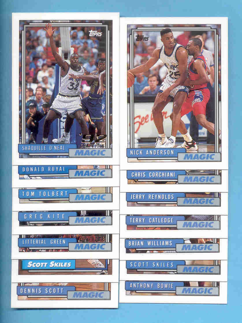 1992/93 Topps Orlando Magic Basketball Team Set