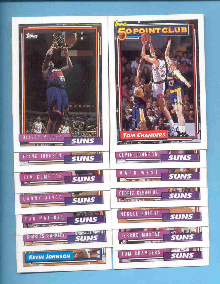 1992/93 Topps Phoenix Suns Basketball Team Set