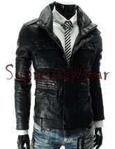 Handmade New Men Front Multi Pockets Stylish Leather Jacket, Men leather jacket, - $189.00