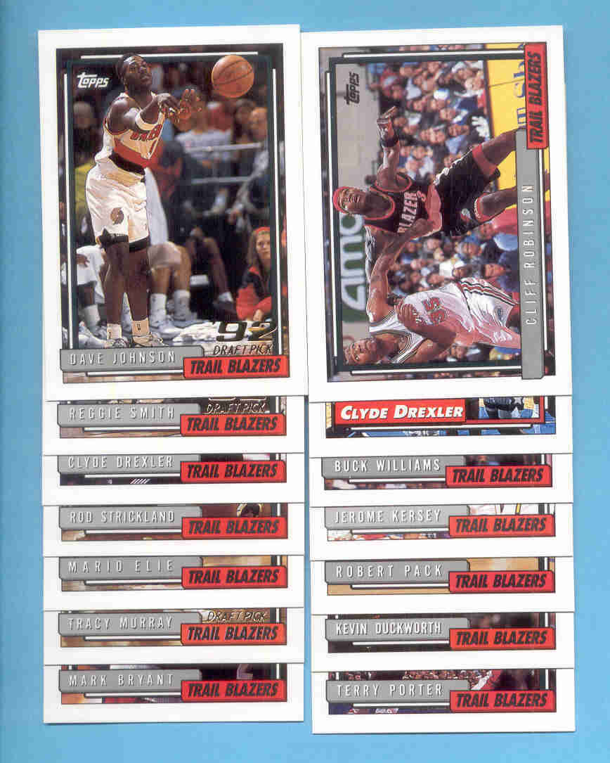 1992/93 Topps Portland Trail Blazers Basketball Team Set