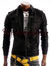Handmade New Men Stylish Strap Pocket Superb Leather Jacket, Men leather... - $189.00