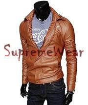 Handmade New Men Stylish Chic Bomber Leather Jacket, Men leather jacket,... - $189.00
