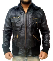 New Handmade Men Hooded Black Leather Jacket, Leather jacket for men - $139.00