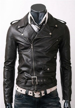 Handmade New Men Brando Style Slim Fit Leather Jacket, Leather jacket fo... - $139.00