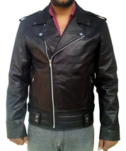 Handmade New Men Brando Style Slim Fit Leather Jacket, Men leather jacke... - $139.00