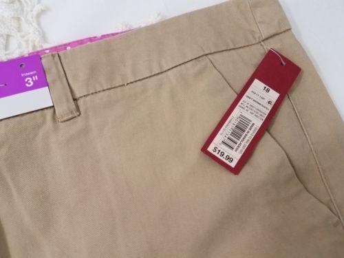 Merona Target Women/'s Plus Size 18 Shorts Khaki Tan Pockets NWT 100/% Cotton